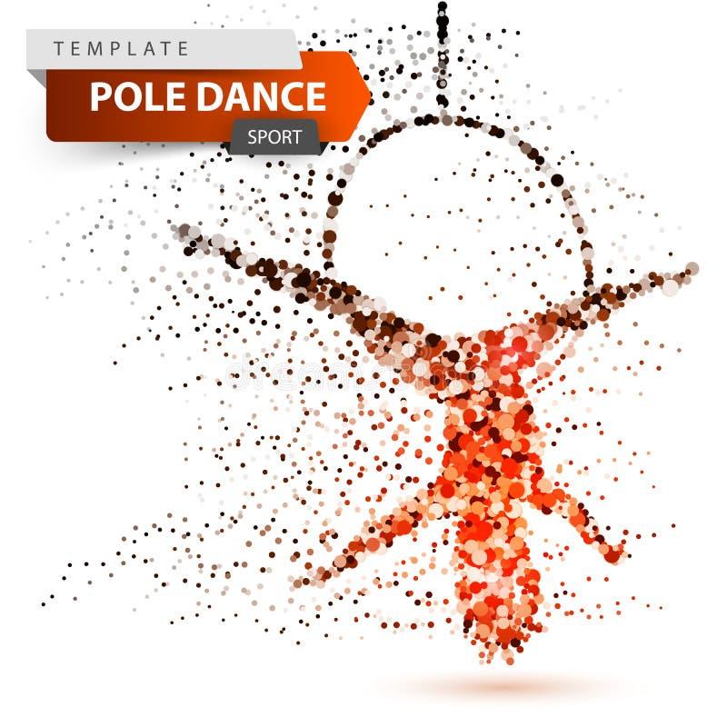 Pole dance, exotic, striptease - dot illustration. vector illustration