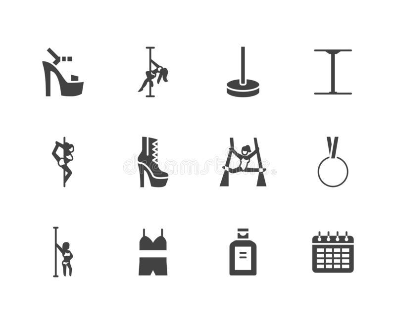 Pole dance flat glyph icons set. Sexy girl dancing, stripper high heels shoe vector illustrations. Black signs for vector illustration