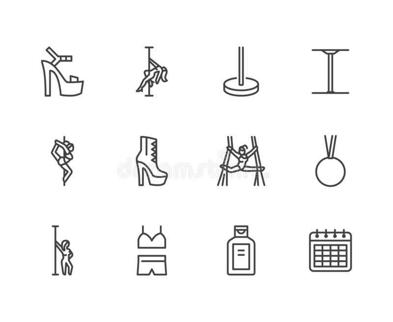 Pole dance flat line icons set. Sexy girl dancing, stripper high heels shoe vector illustrations. Outline signs for vector illustration