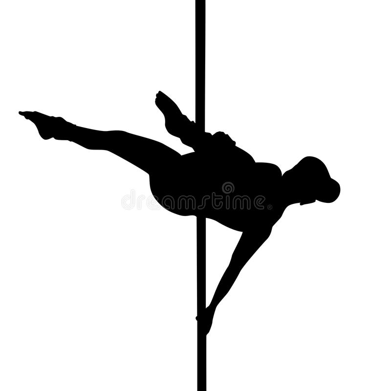Pole dance, silhouette, girl dancing on pylon. royalty free illustration