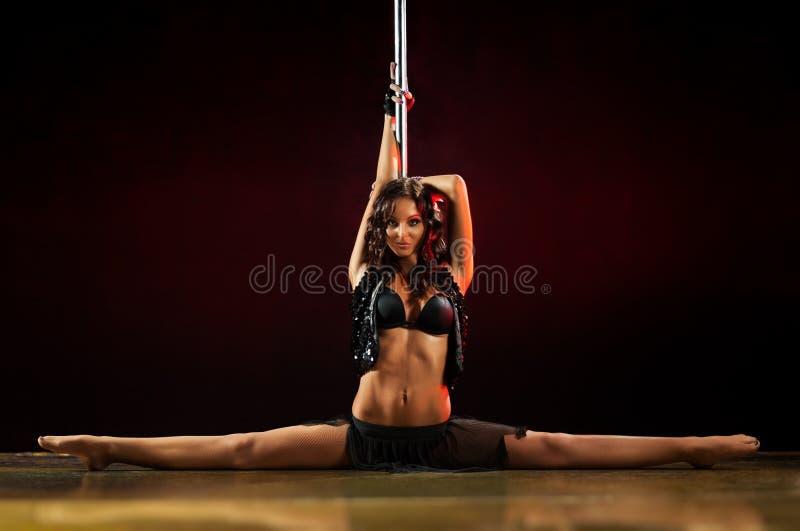 Pole dance woman royalty free stock photos