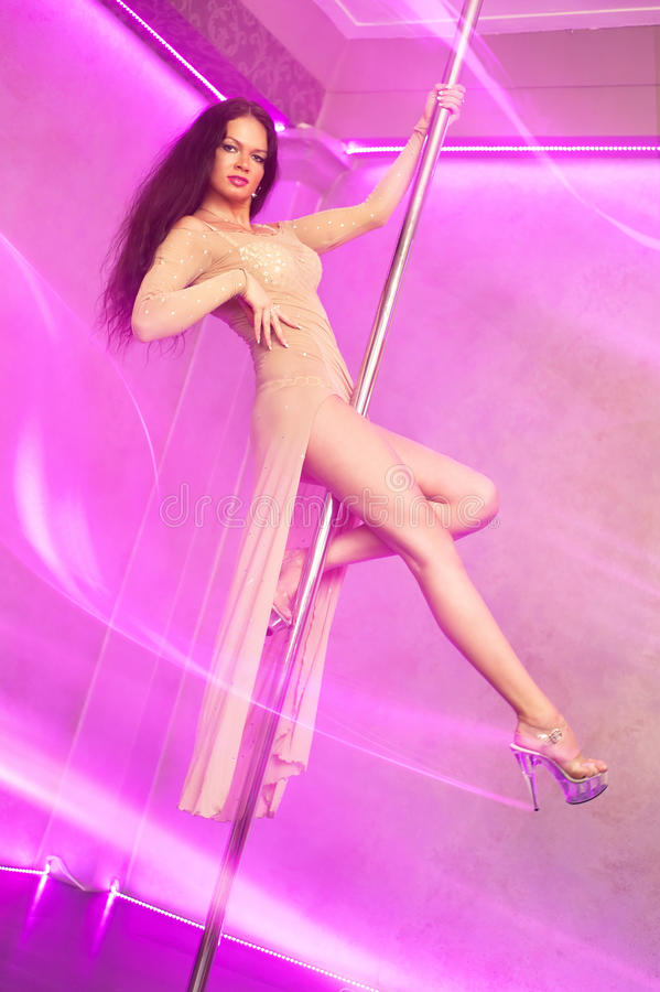 Pole dance woman stock photo