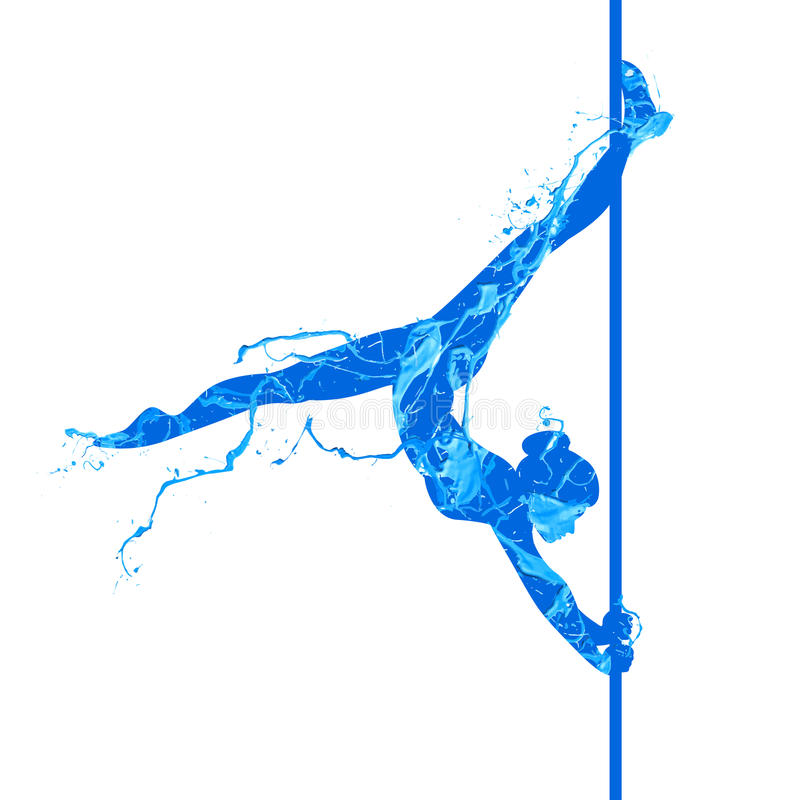 Pole dance young woman royalty free illustration