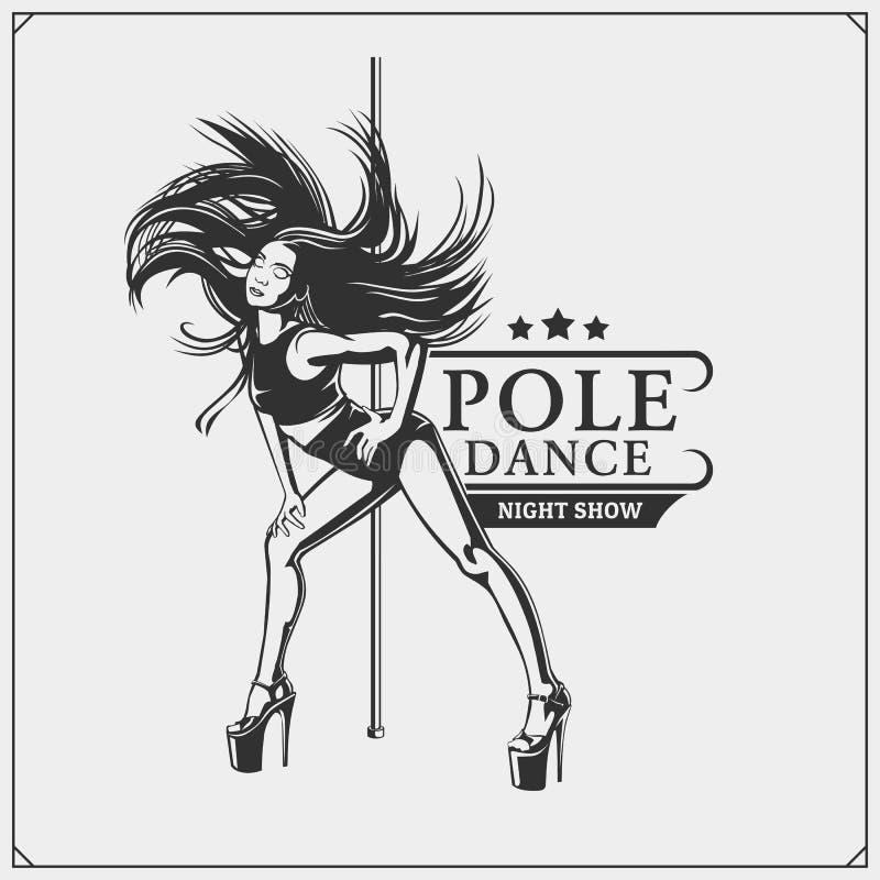Pole dancer emblem. Girl on the pole. royalty free illustration