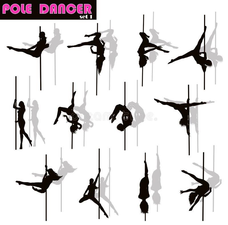 Pole dancer set. Pole dancer woman vector silhouettes set. Separate layers