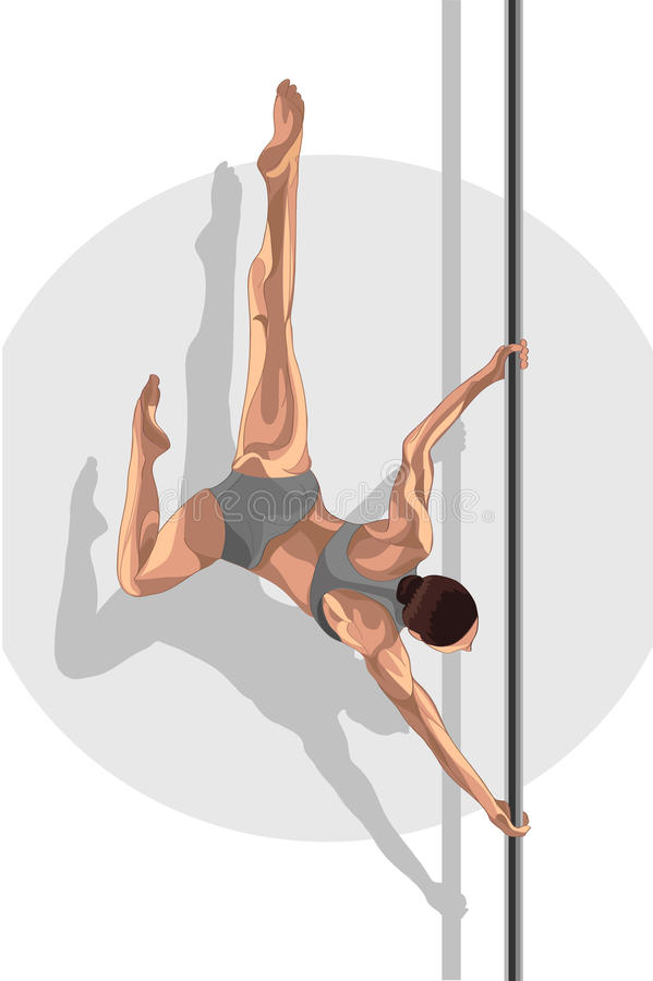 Pole dancer woman make a trick stock illustration