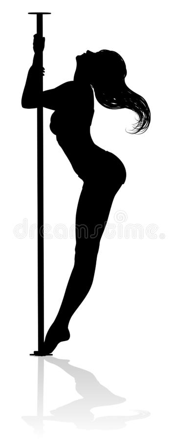 Pole Dancer Woman Silhouette royalty free illustration