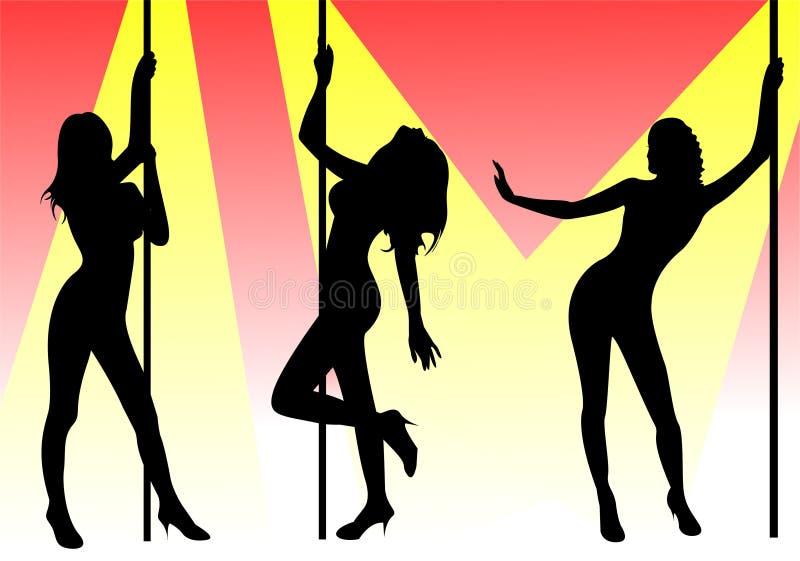 Pole dancers stock illustration