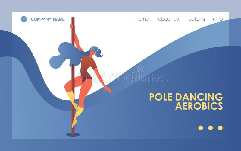 Pole dancing horizontal web banner or landing page template. Blue wave, young woman with elegant pose vector illustration