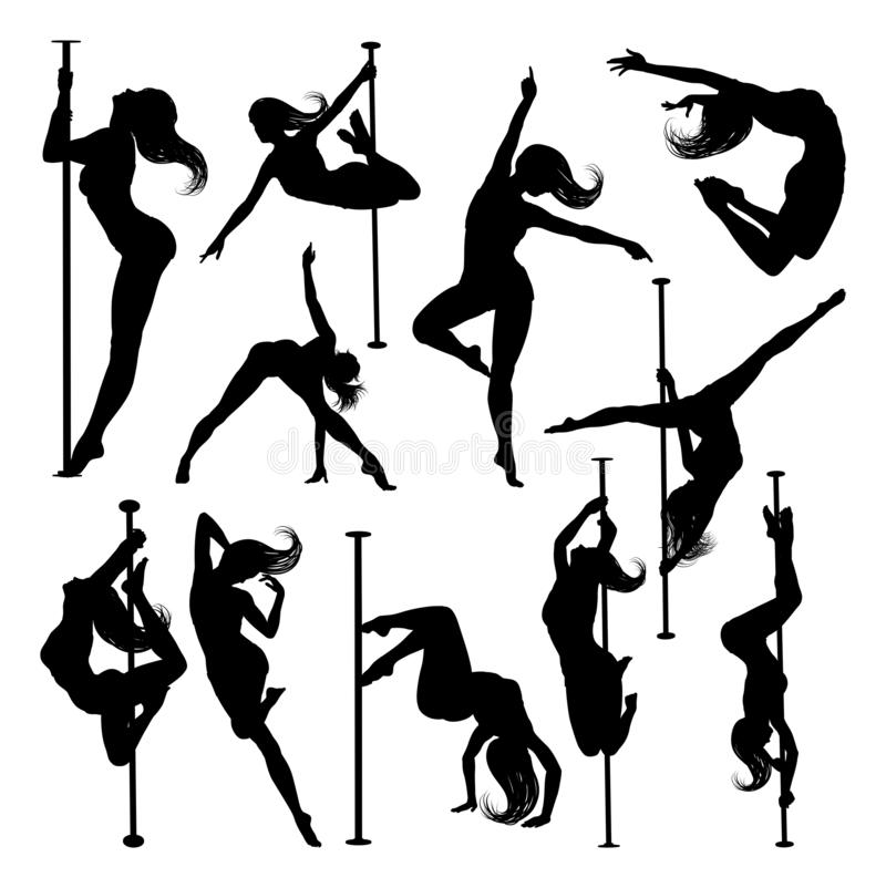 Pole Dancing Women Silhouettes Set vector illustration