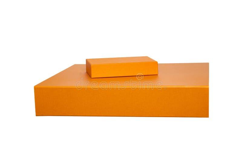 pole dar odizolowane Pomarańczowych prezentów kartonów lub tła pudełka karty prezenta powitania strony szablonu cechy ogólnej sie obraz stock