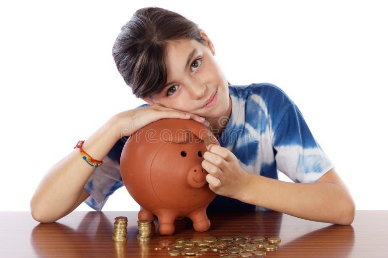 pole dziewczyna whit pieniądze fotografia stock