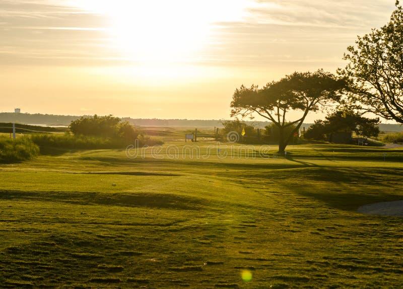 Pole golfowe w zmierzchu zdjęcie royalty free