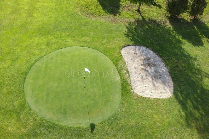 Pole golfowe widok z lotu ptaka zieleń zdjęcia royalty free