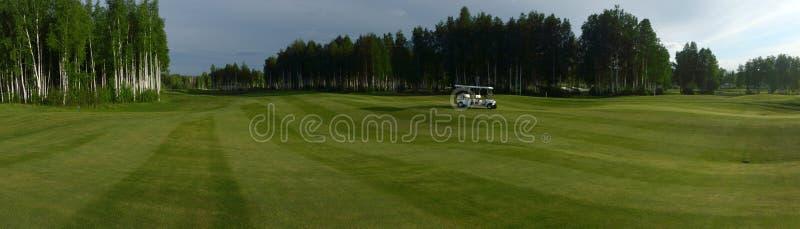 Pole golfowe z drzewami i z drogami, bunkierami i stawami, fotografia royalty free