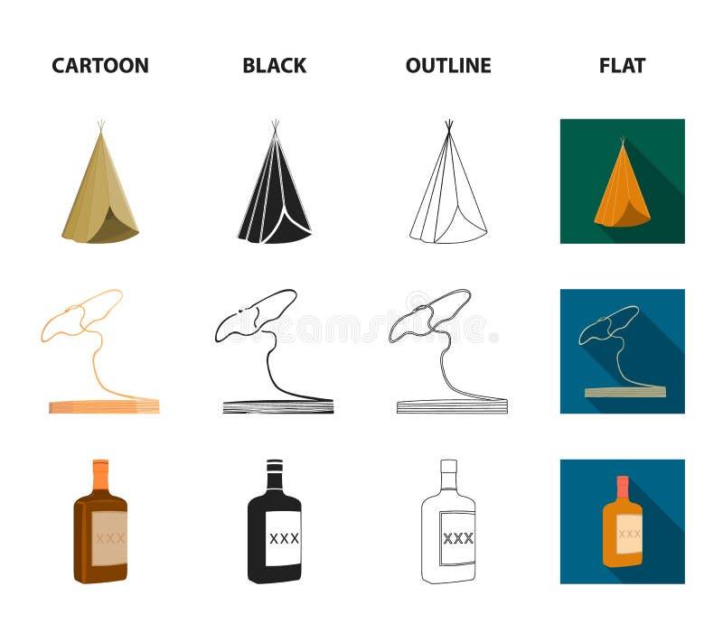 Pole, Indiański wigwam, lasso, whisky butelka Dzikiego zachodu ustalone inkasowe ikony w kreskówce, czerń, kontur, mieszkanie sty ilustracja wektor