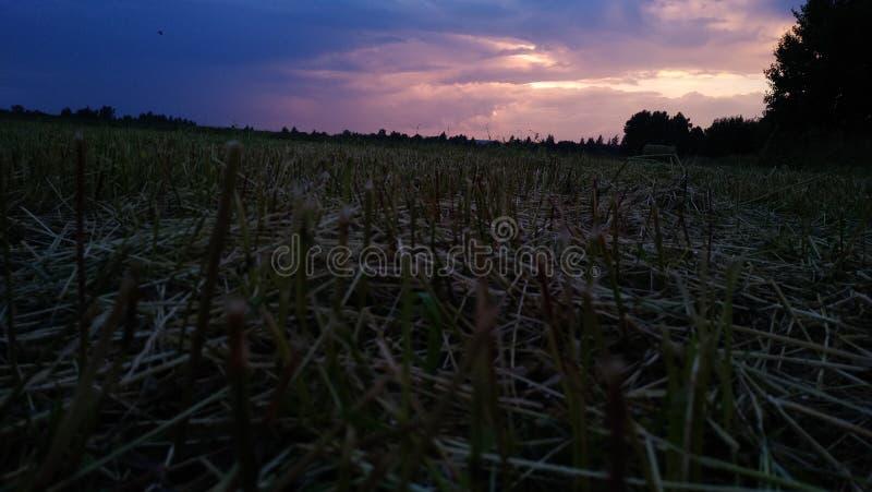 Pole który iluminuje niebo w gradientowym stylu obraz stock