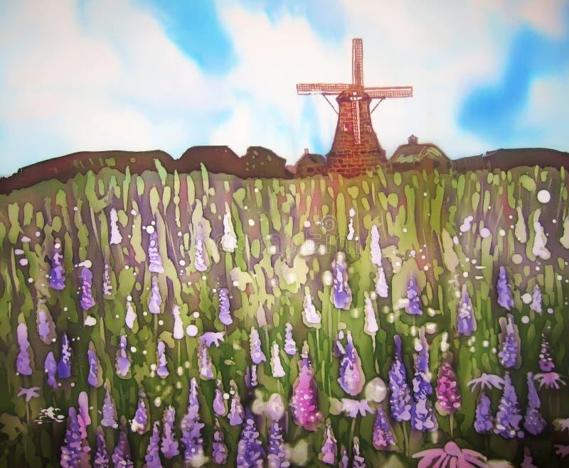 Pole kwiaty i wiatrowy młyn. Oryginalna sztuka. Malować na jedwabiu. royalty ilustracja