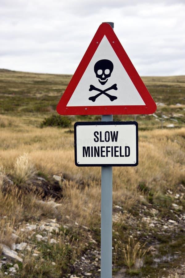 Pole minowe podpisuje wewnątrz Falkland wyspy zdjęcie stock