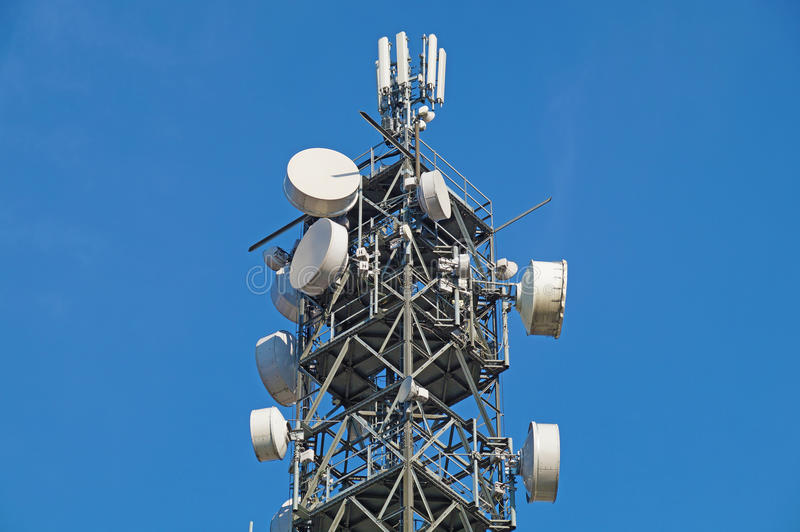 Pole for mobile antenna stock photo