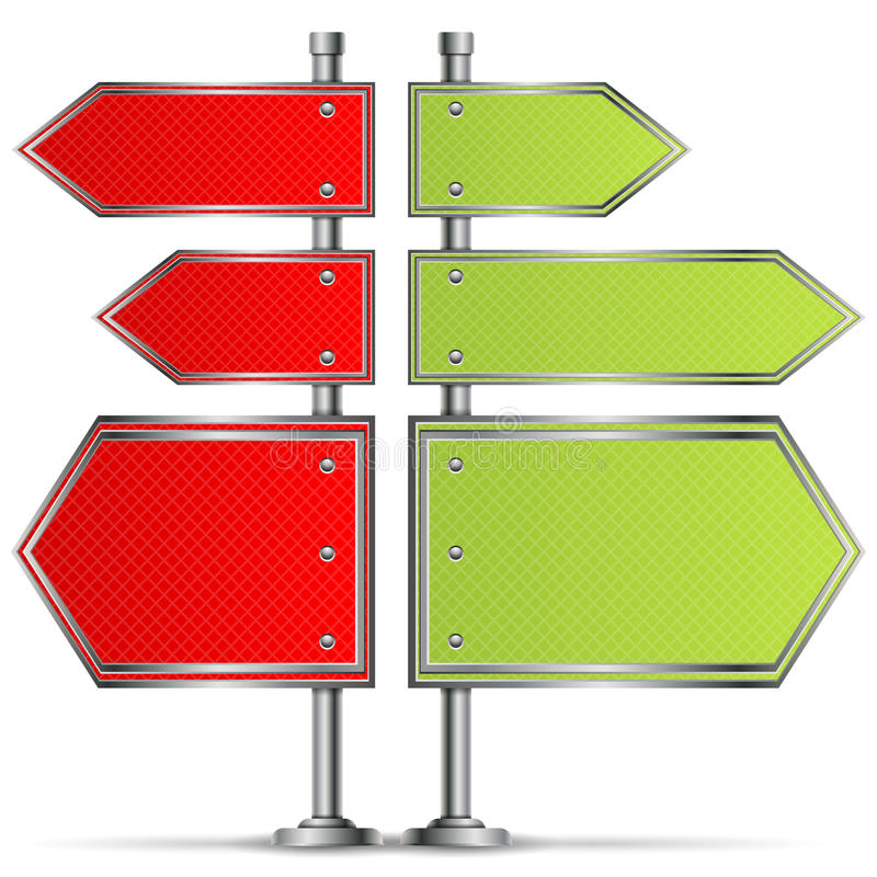 Pole with Road Signs vector illustration