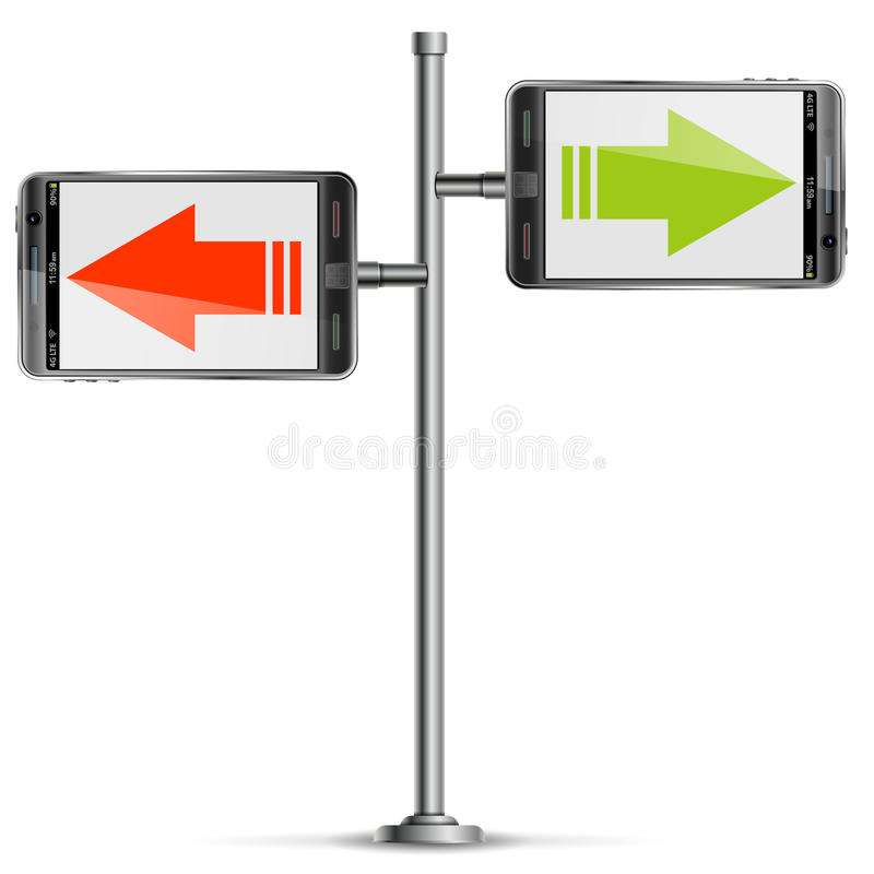 Pole with Smartphone and Arrows royalty free illustration