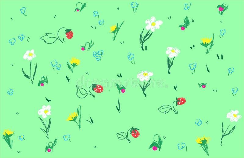 Pole truskawka i kwiaty ilustracja wektor