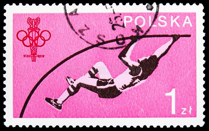 Pole Vault, 60 years Polish Olympic Committee serie, circa 1979. MOSCOW, RUSSIA - JUNE 19, 2019: Postage stamp printed in Poland shows Pole Vault, 60 years royalty free stock photo