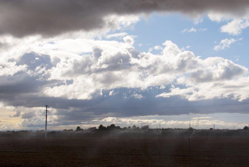 Pole z kropidłami chmurny dzień obrazy stock