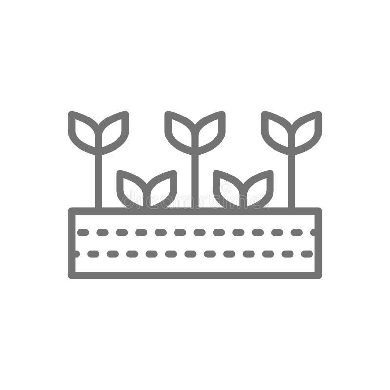 Pole z roślinami, ziemia uprawna, ogród, rolnicza krajobraz linii ikona royalty ilustracja