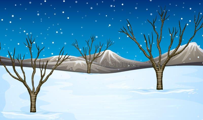 Pole zakrywający z śniegiem ilustracja wektor