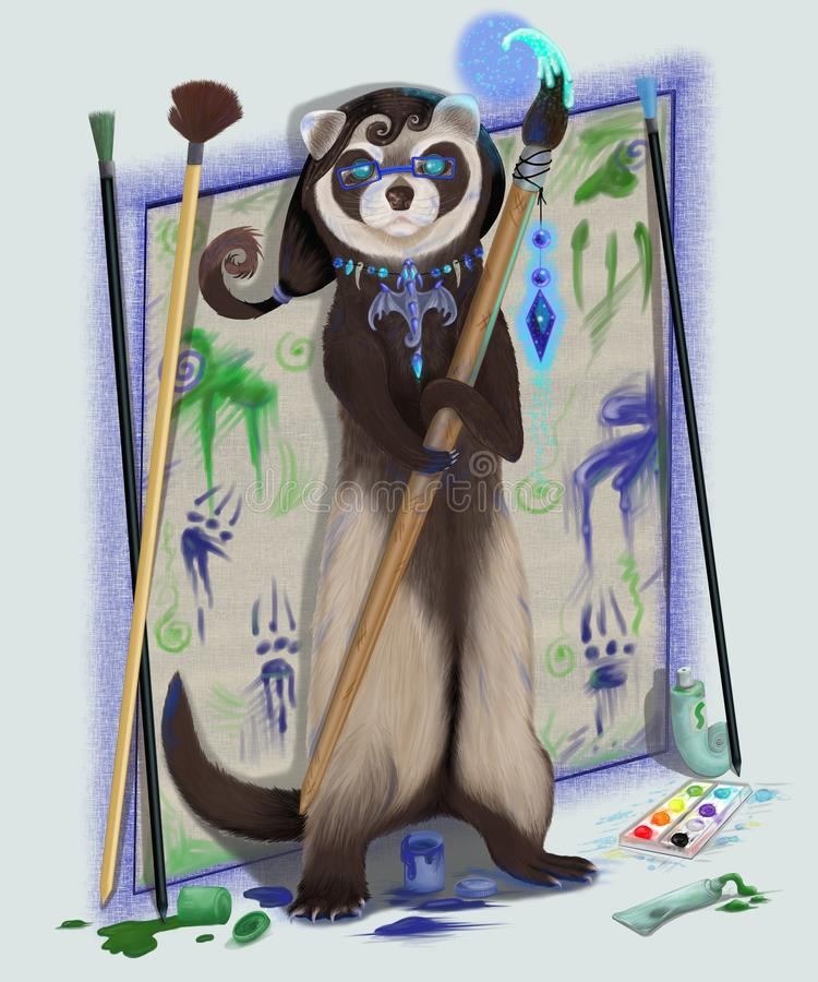 Polecat a female with a magic brush. Polecat the artist soiled by paint vector illustration
