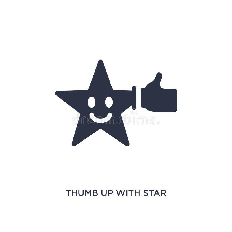 polegar acima com ícone da estrela no fundo branco Ilustração simples do elemento do conceito do cinema ilustração do vetor