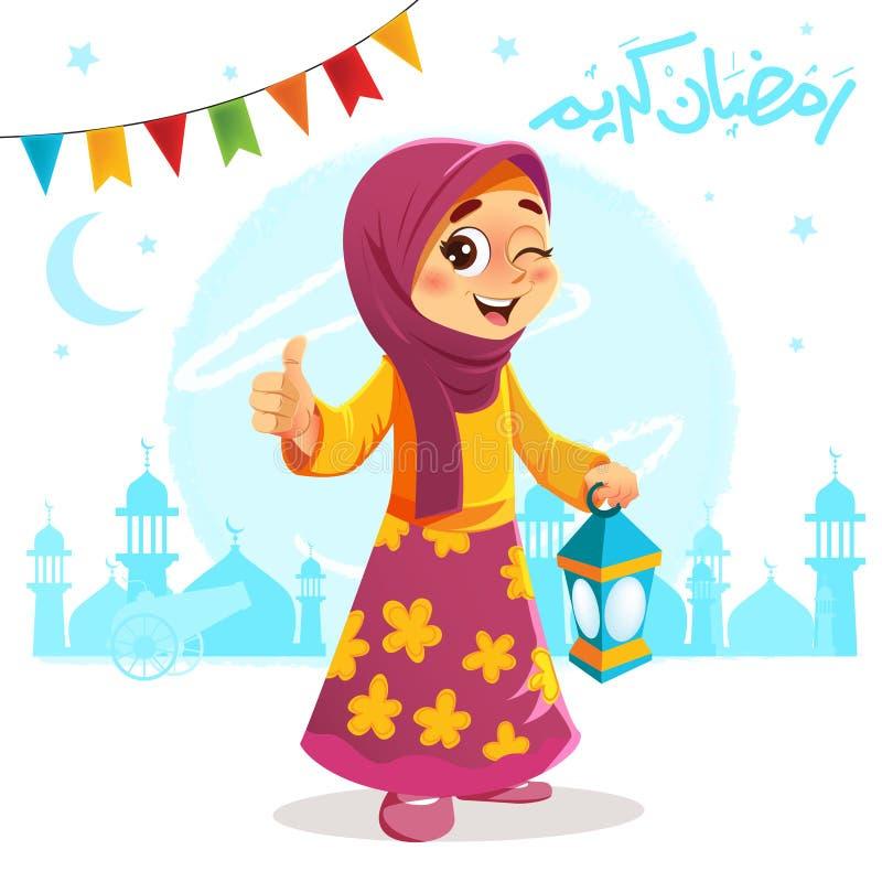 Polegar acima da moça que comemora a ramadã ilustração royalty free