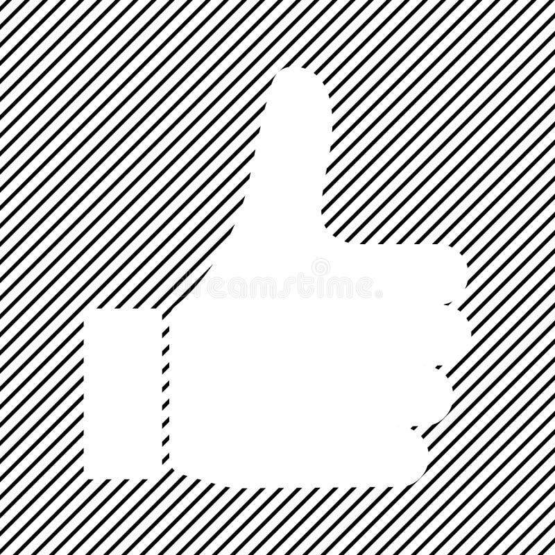 Polegar acima do ícone, como o ícone no fundo listrado preto Vetor ilustração royalty free