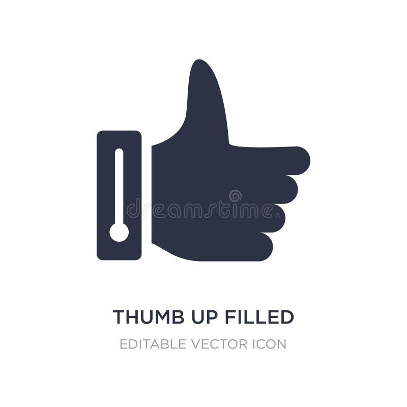 polegar acima do ícone enchido do gesto no fundo branco Ilustração simples do elemento do conceito dos sinais ilustração stock