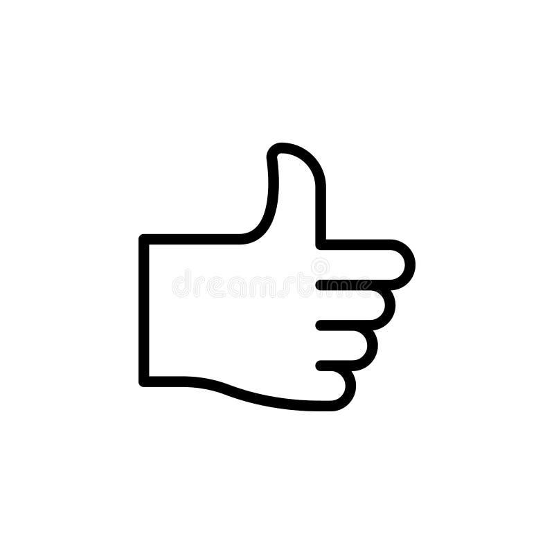 Polegar acima do ícone do esboço do gesto de mão Elemento do ícone da ilustração do gesto de mão os sinais, símbolos podem ser us ilustração stock