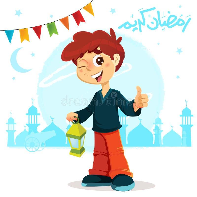 Polegar acima do menino novo que comemora a ramadã ilustração do vetor