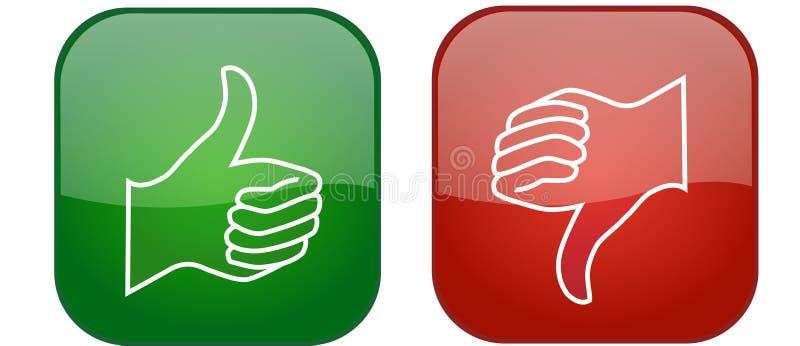 Polegar ascendente e do polegar ícones para baixo ilustração stock