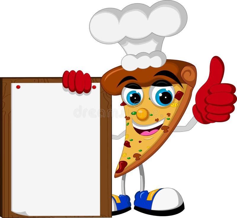 Polegar bonito dos desenhos animados da pizza que mantém a placa vazia ilustração royalty free