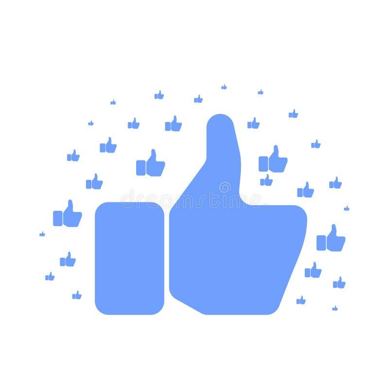 Polegar da exibição da mão de Big Blue acima do teste padrão no branco ilustração stock