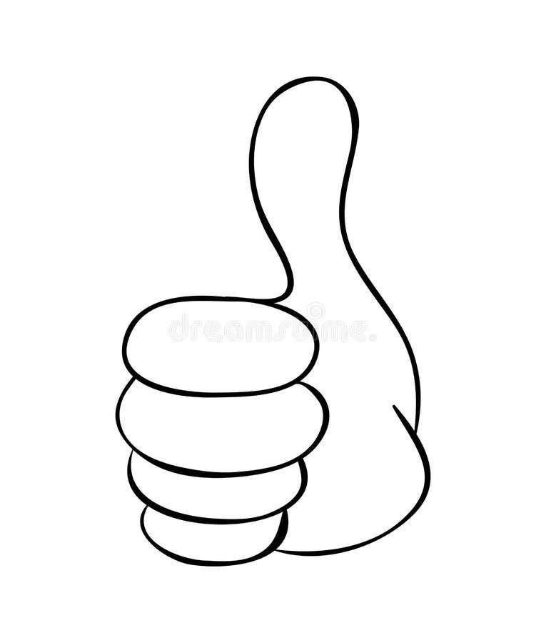 Polegar da mão acima do projeto do ícone do símbolo do vetor dos desenhos animados Illus bonito ilustração do vetor
