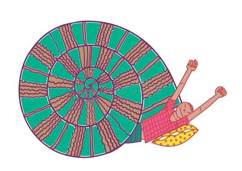 Polegar de Tom no shell do caracol ilustração do vetor