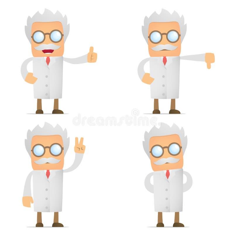 Polegar engraçado da preensão do cientista dos desenhos animados acima e para baixo ilustração do vetor