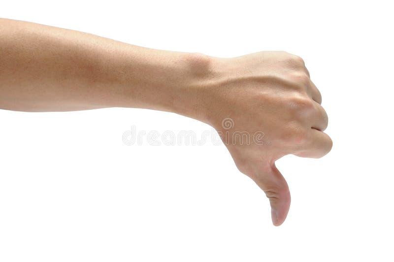 Polegar masculino da mão isolado para baixo no fundo branco Ato da parte do corpo imagem de stock royalty free