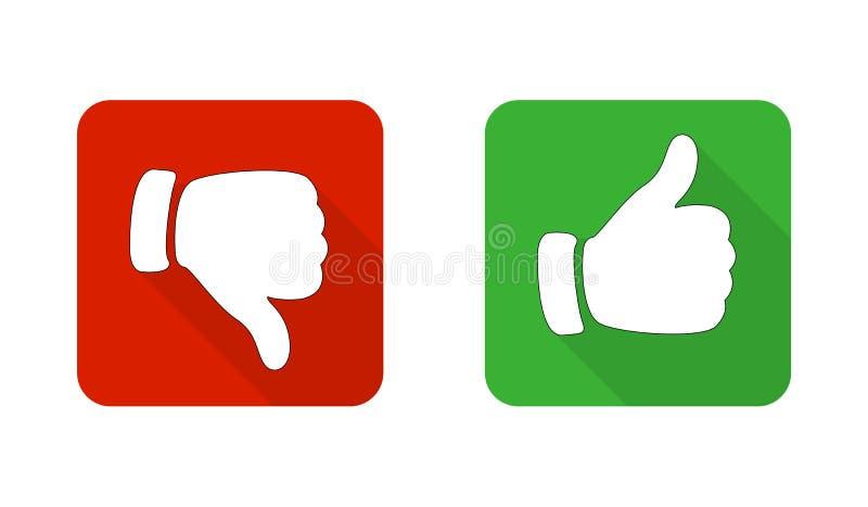 Polegar para cima e para baixo os ícones vermelhos e verdes Ilustração do vetor Eu gosto e não faço como os botões quadrados ilustração royalty free