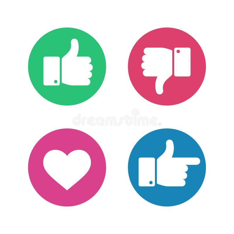 Polegares acima abaixo do sinal Aponte ícones do dedo e do coração no círculo vermelho e verde Vetor social da reação do usuário  ilustração do vetor