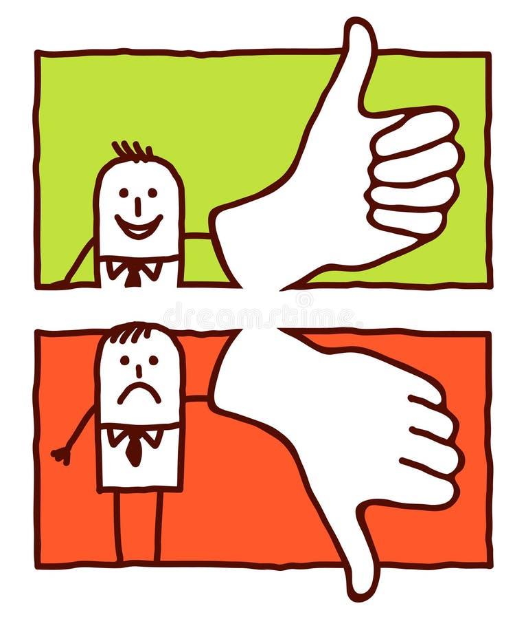 Polegares acima & para baixo ilustração do vetor