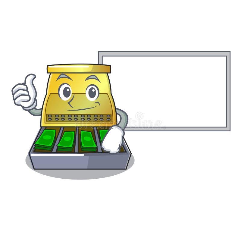 Polegares acima com a caixa registadora eletrônica da placa isolada em uns desenhos animados ilustração royalty free