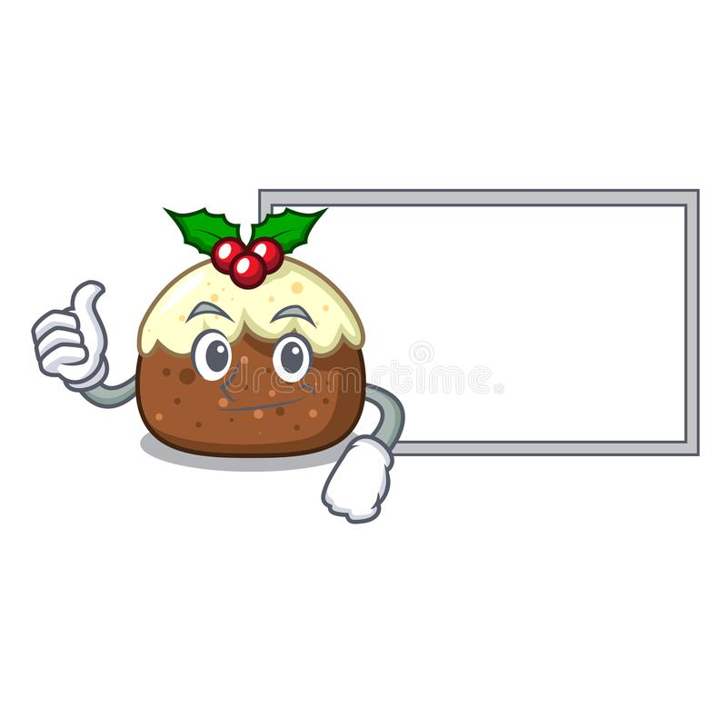 Polegares acima com desenhos animados do caráter do bolo do fruto da placa ilustração do vetor